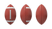 3d rendering set of oval American football ball isolated on a white background. Sport and recreation. Ball games. Athletic career.