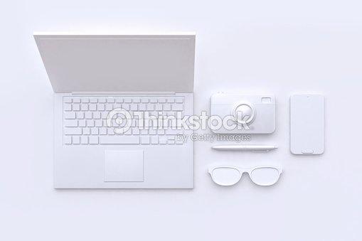 3d rendering technology concept white scene abstract laptop camera glasses pen smart phone : Foto de stock