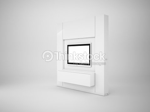 Mur De Tv 3d Rendu Isolé Sur Blanc Mock Up Illustration Photo