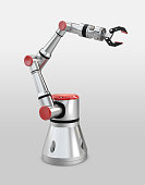 3d rendering white robotic arm on white background.