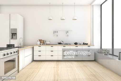 3d rendering white scandinavian style kitchen with lamp : Stock Photo