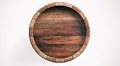 3d rendering old wooden barrel on white background