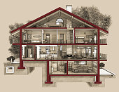 If we cut a house in half we will see how zoned rooms on the floors. Garage and heating are in the basement. Kitchen, living room and hallway on the ground floor. The bedroom and bathroom are on the u