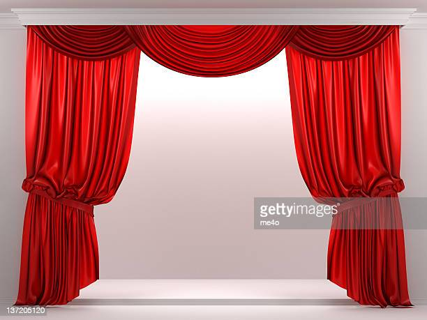 3d showcase with red curtain