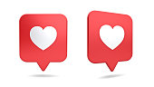 3d social media notification love like heart icon in red rounded square pin isolated on white background with shadow 3D rendering
