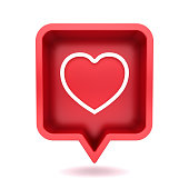 3d social media notification neon love like heart icon in red rounded square pin isolated on white background with shadow 3D rendering