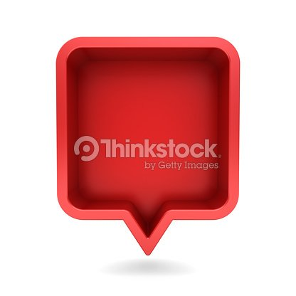 3d speech bubble or blank red rounded square chat pin with shadow isolated on white background 3D rendering : Foto de stock