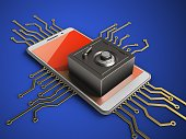 3d illustration of white phone over blue background with electronic circuit and steel safe