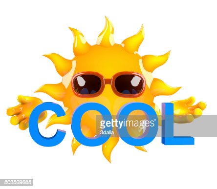 3d Sun Character Holding The Word Cool Stock Photo | Getty Images