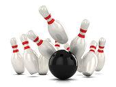 3d render of a ten pin bowling as ball hits pins