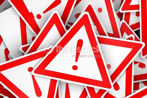 3d triange board with exclamation mark : Stock Photo