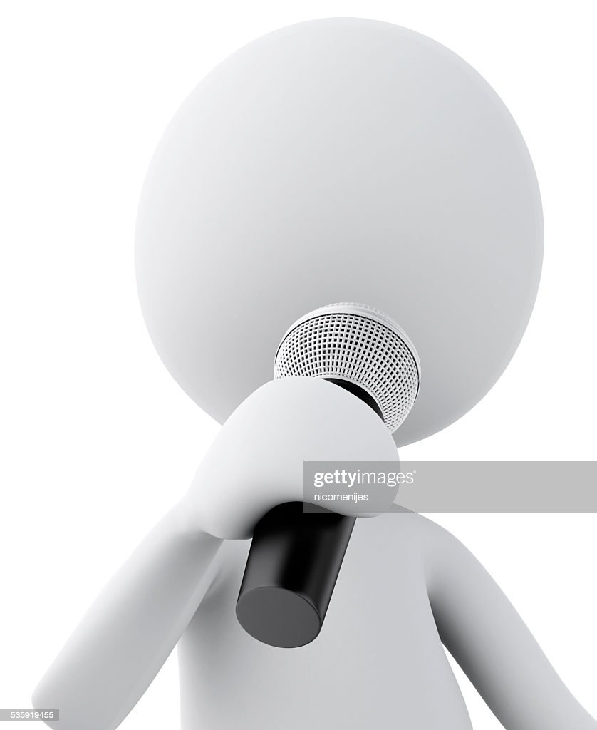 3d white man with Microphone. Isolated white background. : Stock Photo