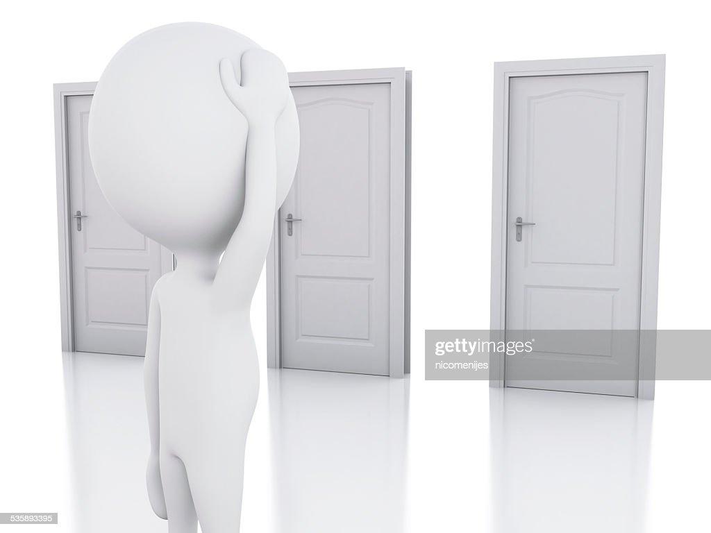 3 d weiß Personen und drei Türen, wagen wir zu bezweifeln. Wahl-Konzept : Stock-Foto