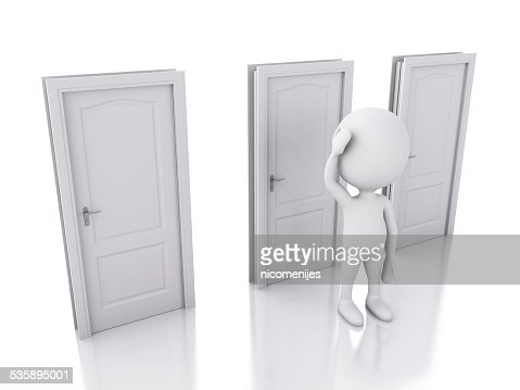 3d white people and three doors, doubtful. Choice concept : Bildbanksbilder