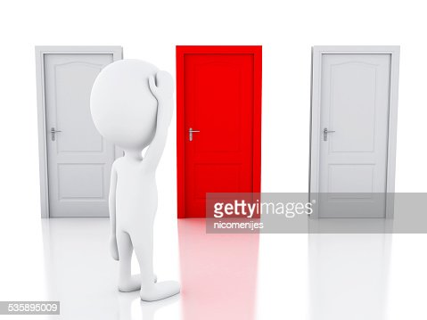 3d white people and three doors, doubtful. Choice concept : Stock Photo