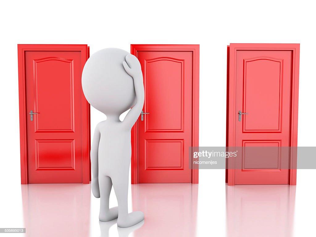 3 d blanc personnes et trois portes, les doutes. concept de choix : Photo