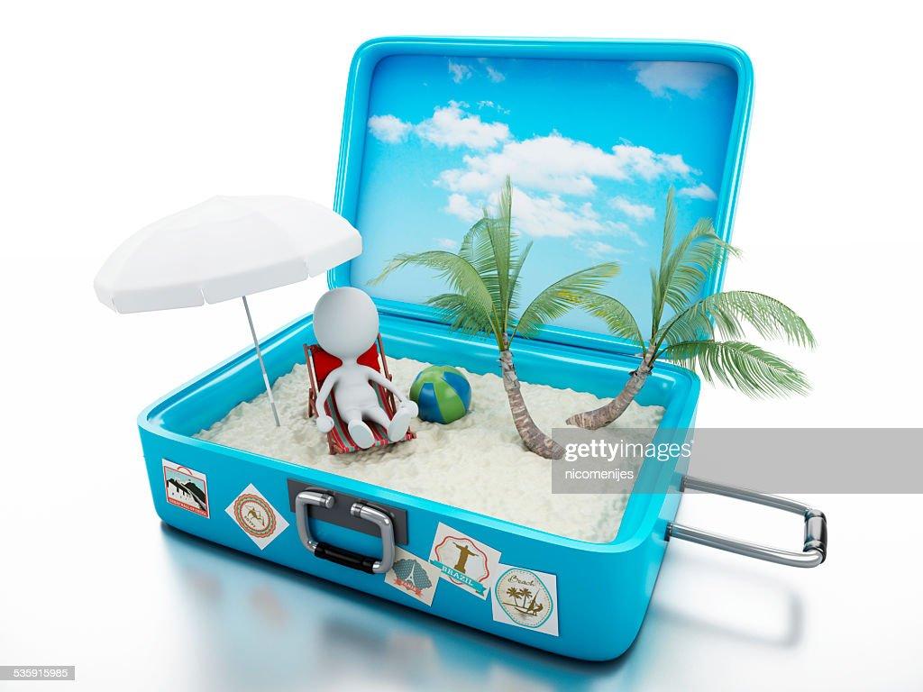 3 d branco pessoas em viagem de férias de praia suitcase. : Foto de stock