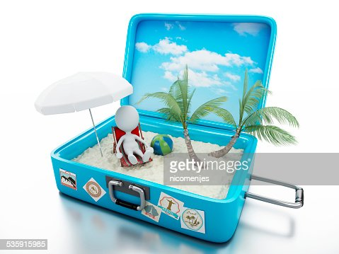 3d white people in a travel suitcase. beach vacation : Stock Photo