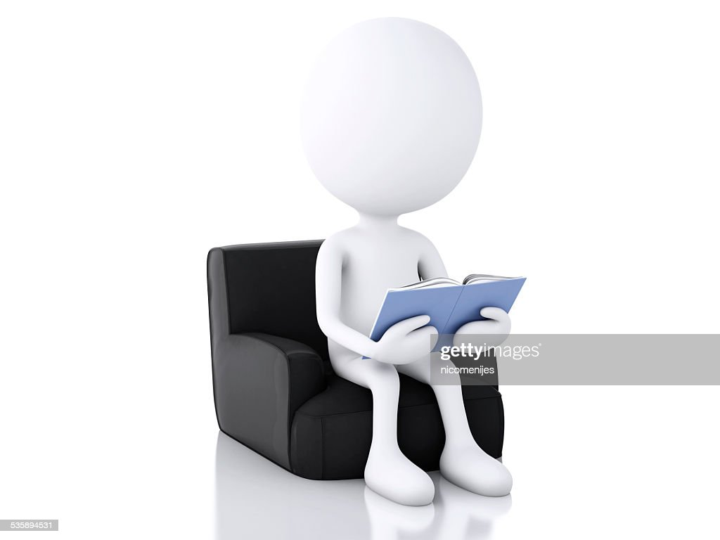 3d white people reading a book on white background. : Stock Photo