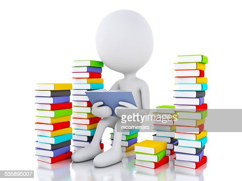 3d white people reading a book on white background. : Stockfoto