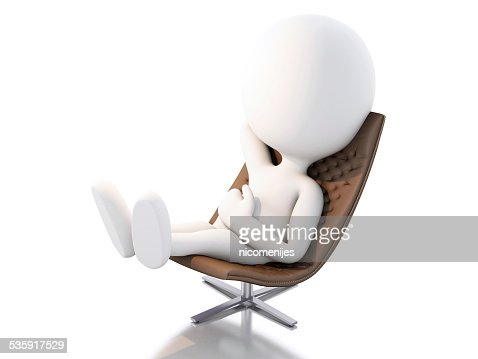 3d white people relax. Isolated white background : Stock Photo