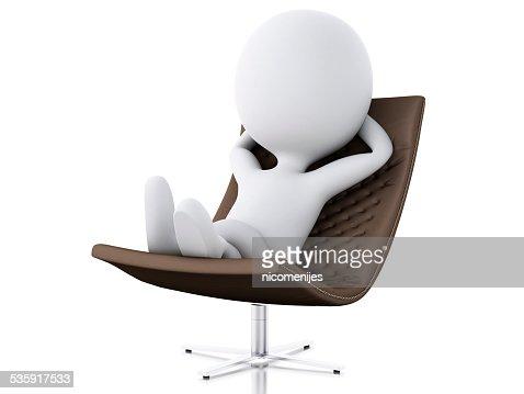 3 d branco pessoas relaxar. Isolado fundo branco : Foto de stock