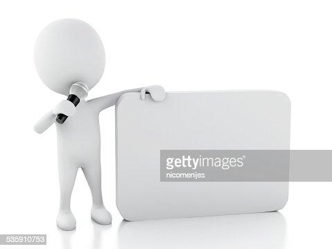 3 d branco pessoas com um em Branco fala. Comunicação concep : Foto de stock