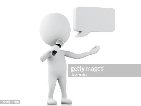 3 d blanco personas con un blanco discurso burbujas. Comunicación concep : Foto de stock