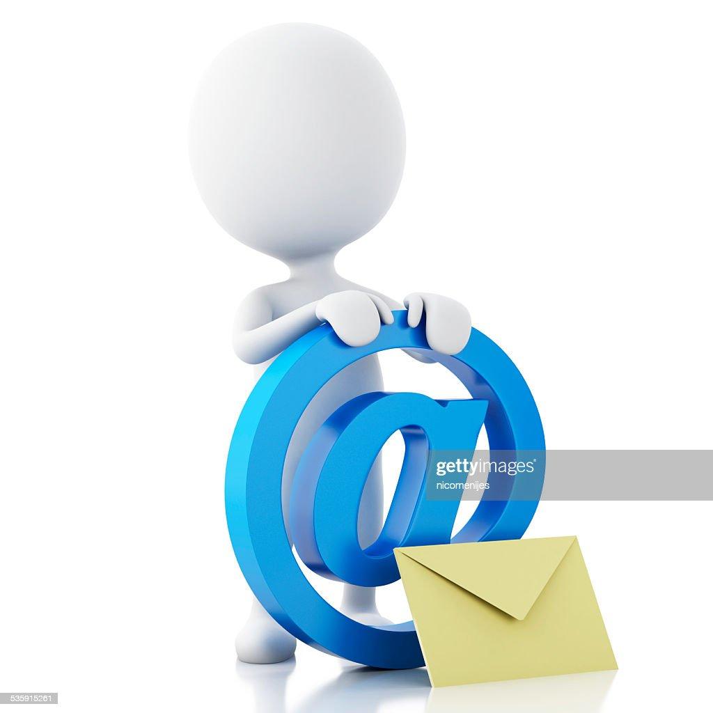 3 d branco pessoas com Símbolo de e-mail e envelope. : Foto de stock