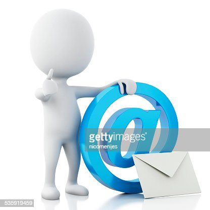 3d white people with email symbol. Isolated white : Stock Photo