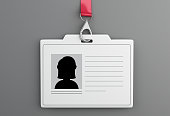 3d illustration. White ID badge. Isolated white background