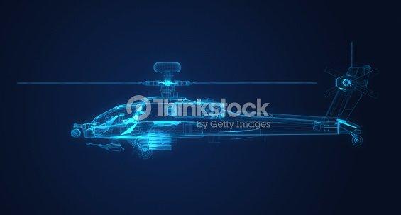 3 D Drahtmodell Skizze Der Apachehubschrauber Stock-Foto   Thinkstock