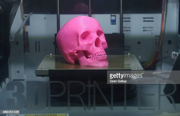 A 3Dprinted pink plastic skull sits finished in the da Vinci 3D printer at the XYZ stand at the 2015 IFA consumer electronics and appliances trade...