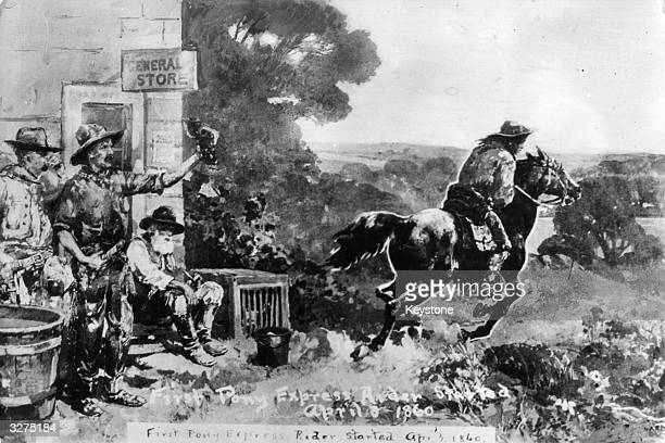 The first Pony Express carrying mail from St Joseph Missouri to California