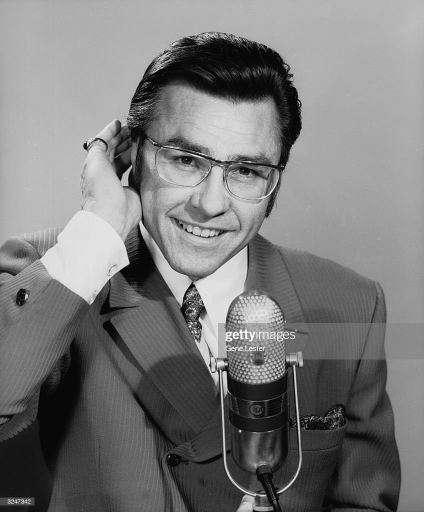 American actor Gary Owens as an Announcer in a promotional portrait for the television series 'Rowan Martin's LaughIn' also known as 'Laugh In'