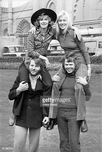 Swedish pop stars Benny Andersson AnniFrid Lyngstad Agnetha Faltskog and Bjorn Ulvaeus of ABBA at Brighton