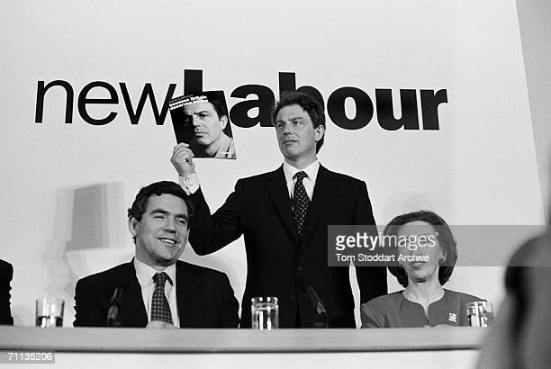 Tony Blair Gordon Brown and Margaret Beckett at the launch of the Labour manifesto entitled 'Because Britain Deserves Better' during Blair's...