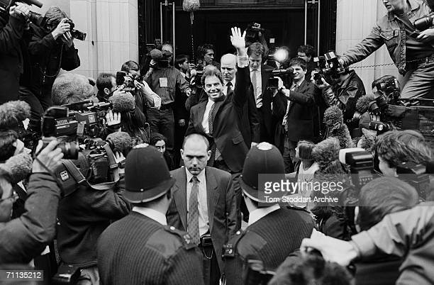 Tony Blair MP surrounded by media on the day that Labour launched their manifesto entitled 'Because Britain Deserves Better' during his successful...