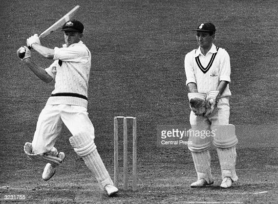 CHECK HIRES IF SUPPLYING DIGITALLY Australia's Bill Lawry in action at the crease against Surrey at the Oval