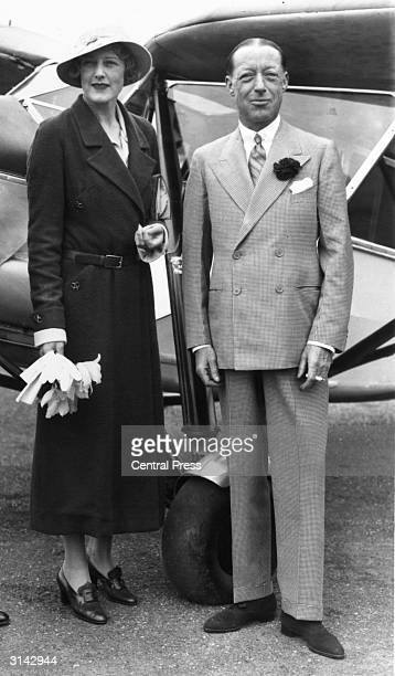 Lord And Lady Furness at Stag Lane Aerodrome in Hendon north London They are about to leave for their honeymoon in their Puss Moth aeroplane which is...