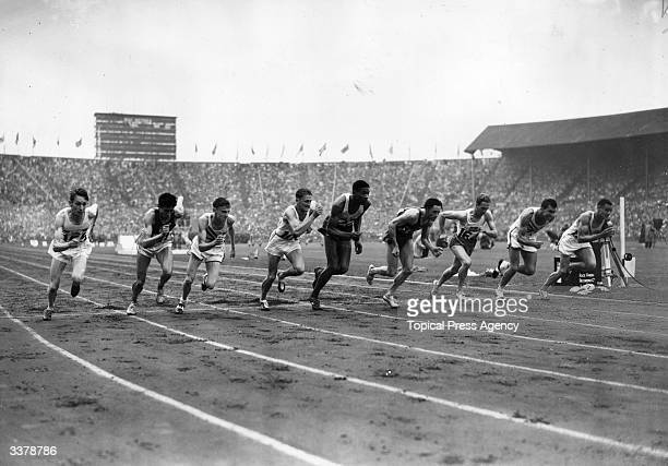 The start of the 1948 Olympic 800 metres final at Wembley Stadium The winner was America's Malvin Whitfield