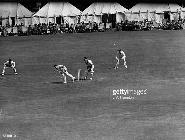 English cricketer Denis Compton batting during a cricket match between Middlesex and Kent at Canterbury