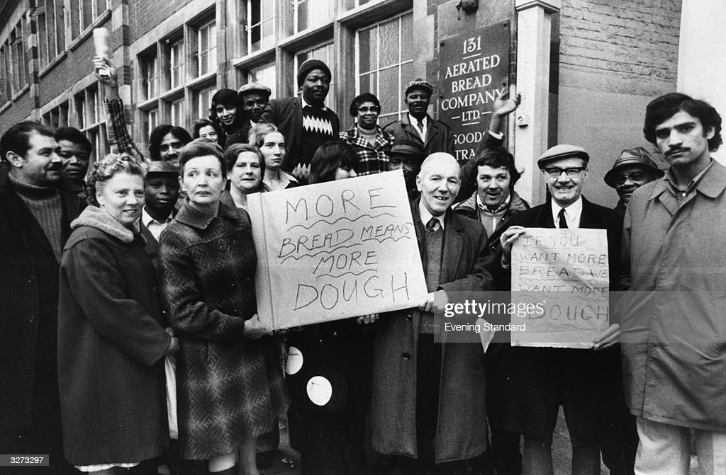 Striking bakery workers outside the ABC Bakery in Camden Town during the Industrial dispute.