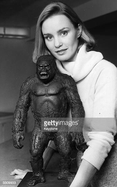 Film actress Jessica Lange who starred in a remake of 'King Kong' with a model of the famous gorilla at a reception at the Savoy Hotel London