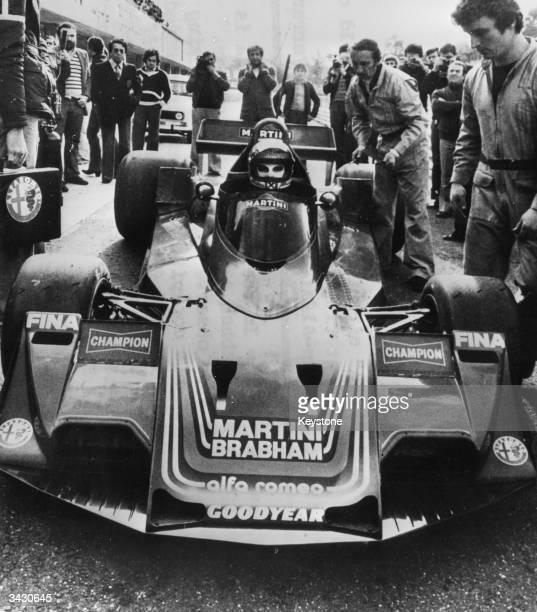 Austrian racing driver Niki Lauda in his new BrabhamAlfa racing car at the Vallelunga circuit in Italy