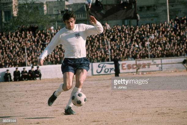 Norman Hunter in action for England during their European Championship qualifying match against Malta at Valletta in Malta