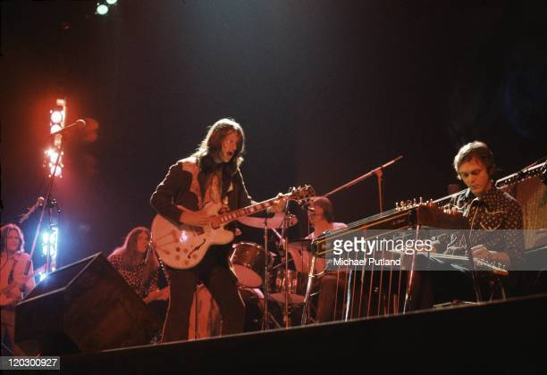 Poco perform on stage at the Rainbow Theatre in London 3rd February 1972 LR Paul Cotton Timothy B Schmit Richie Furay George Grantham Rusty Young