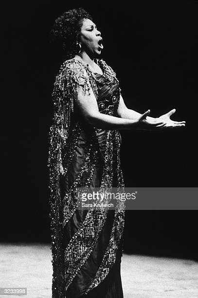 American soprano Leontyne Price singing in her farewell performance 'Aida' at the Metropolitan Opera House New York City