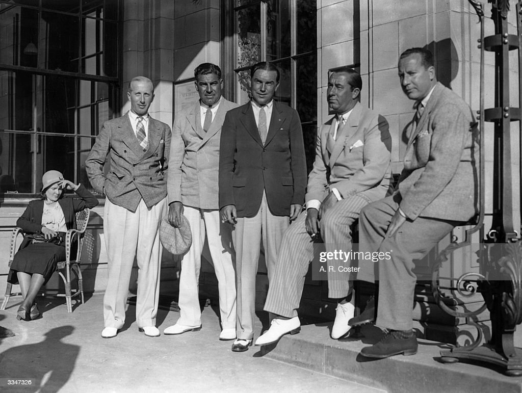 Five American golfers relaxing at the Gleneagles Hotel Left to Right P E Leviton Olin Dutra Billy Burke Walter Hagen and Al Free Hagen became...
