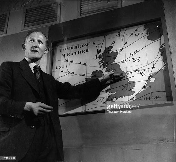 A weather forecast transmission from the BBC television studios at Lime Grove London The Picture Post investigates the reliability of weather reports...